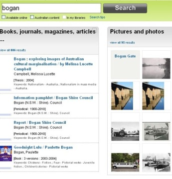 bogan search on trove search engine